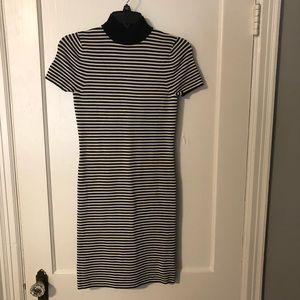 Michael Kors Striped Mock Neck Dress